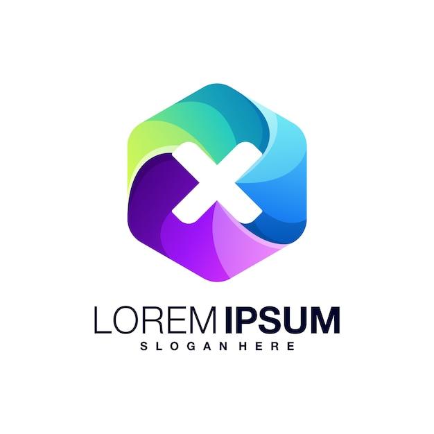 Modèle De Lettre X Logo Coloré Vecteur Premium