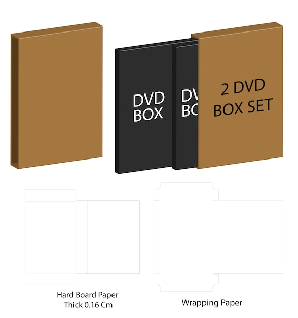 Modèle De Ligne De Papier Découpé De Boîte D'emballage De Papier De Dvd Vecteur Premium