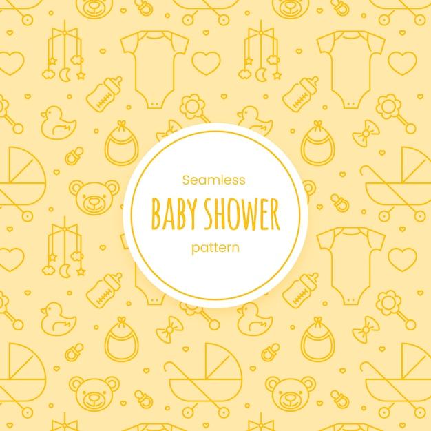 Modèle linéaire de douche de bébé sans soudure Vecteur Premium