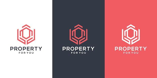 Modèle De Logo Abstrait Bâtiment Et Mains. Inspiration De Conception De Logo Immobilier Vecteur Premium