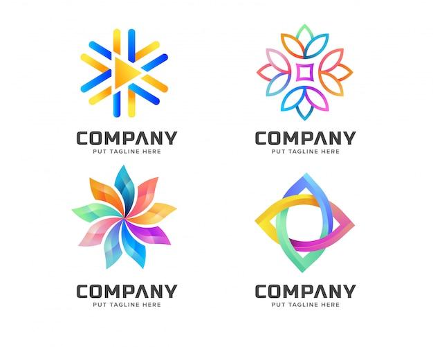 Modèle de logo abstrait coloré pour les entreprises Vecteur Premium