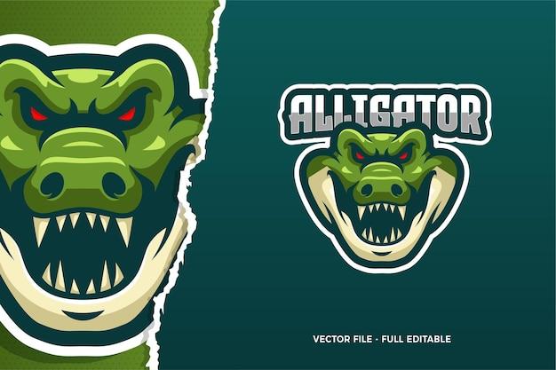 Modèle De Logo Alligator E-sport Vecteur Premium