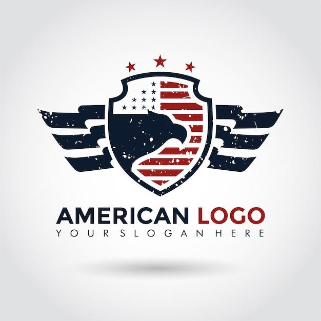 Modèle de logo américain. bouclier et aigle. Vecteur Premium