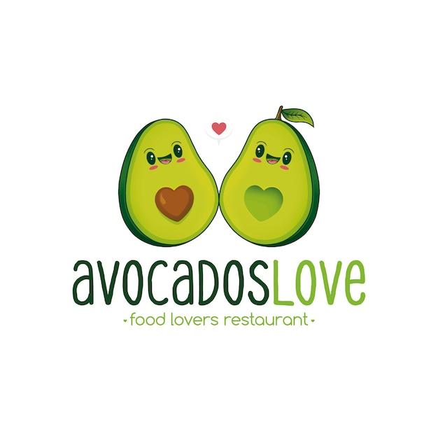 Modèle de logo d'amour avocat Vecteur Premium