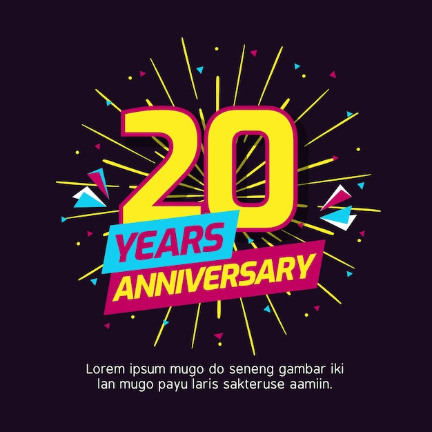 Modèle De Logo Anniversaire De 20 Ans Télécharger Des Vecteurs Premium