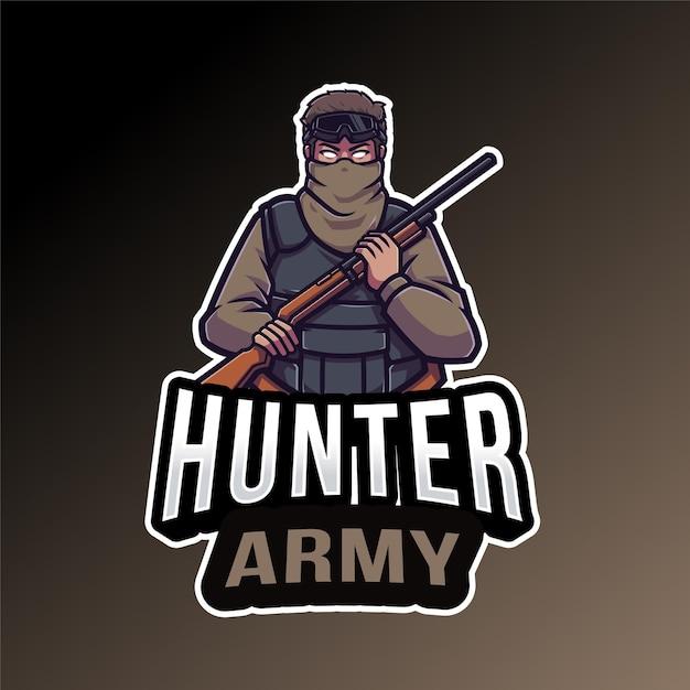 Modèle De Logo De L'armée Hunter Vecteur Premium