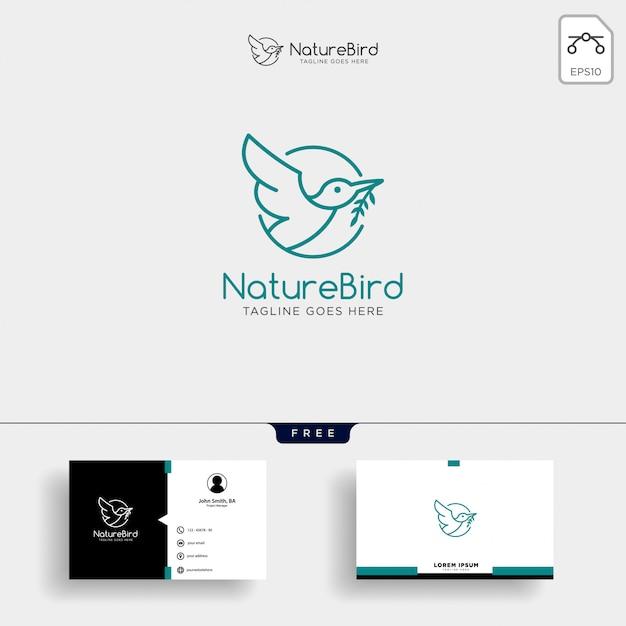 Modèle de logo art nature bird line avec carte de visite Vecteur Premium