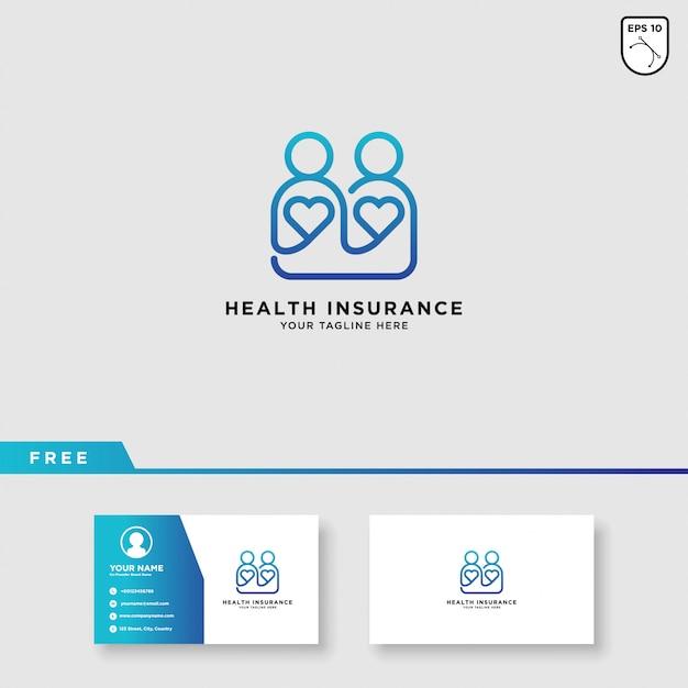 Modèle de logo d'assurance maladie Vecteur Premium
