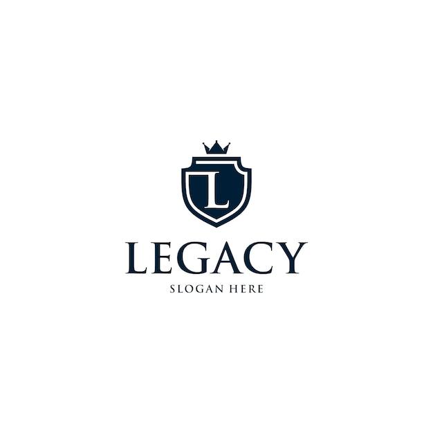 Modèle de logo badge lettre l bouclier Vecteur Premium