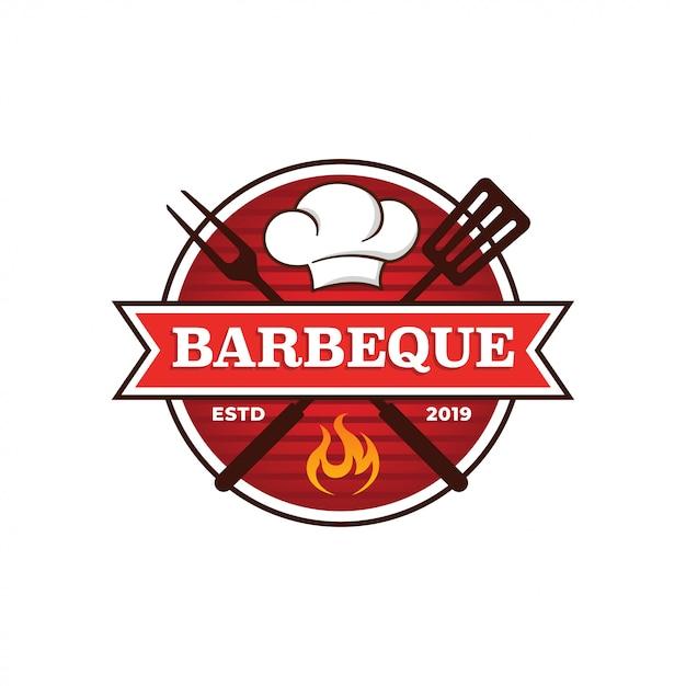 Modèle de logo de barbecue Vecteur Premium