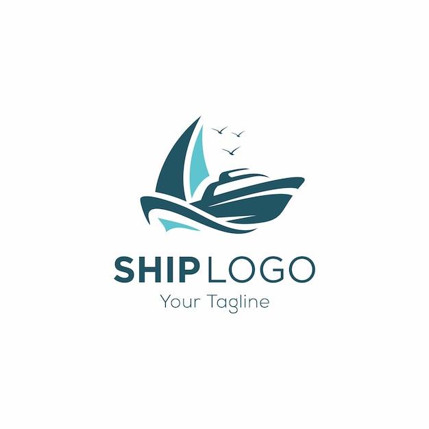 Modèle de logo de bateau de croisière Vecteur Premium