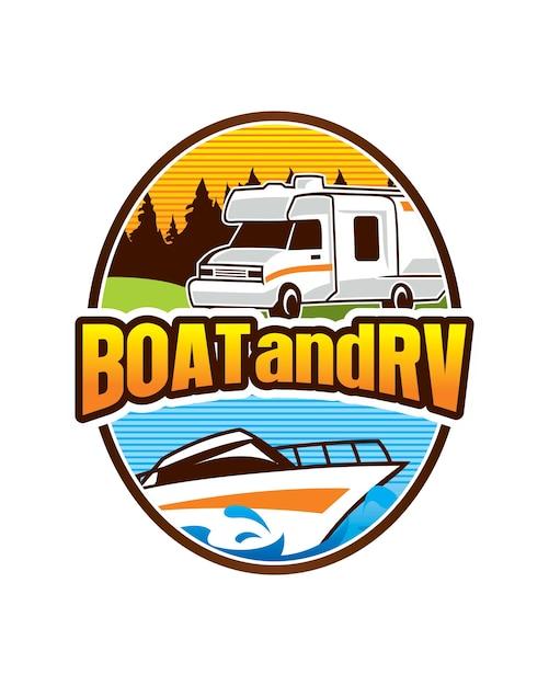Modèle De Logo Bateau Et Rv Vecteur Premium
