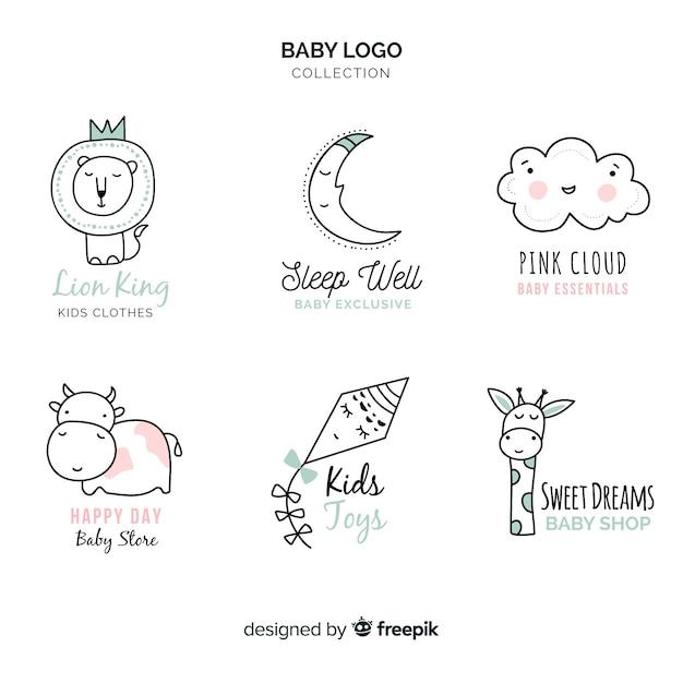Modèle de logo bébé dessiné main moderne Vecteur gratuit