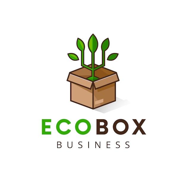 Modèle De Logo De Boîte De Plante Eco Isolé Sur Blanc Vecteur Premium