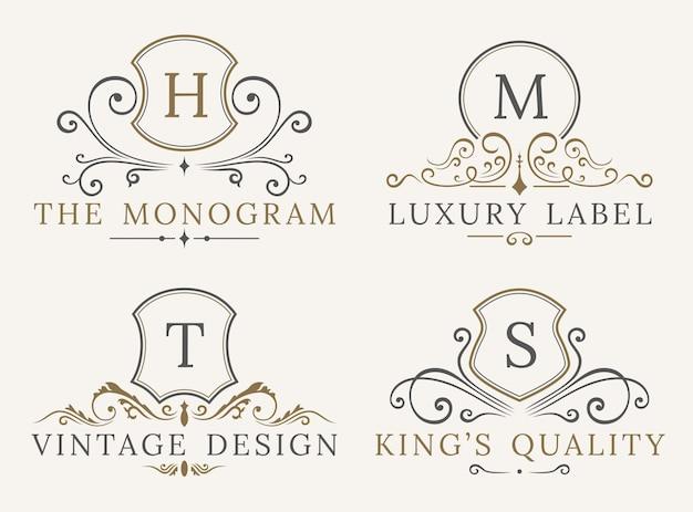Modèle de logo de bouclier de luxe Vecteur Premium