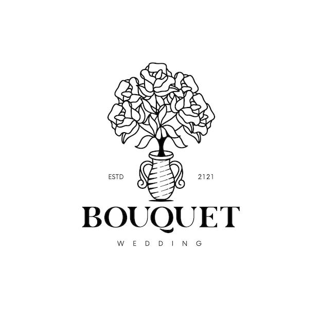 Modèle De Logo De Bouquet De Roses Isolé Sur Blanc Vecteur Premium