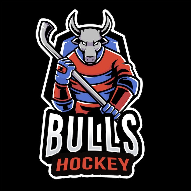 Modèle De Logo De Bulls Hockey Sport Vecteur Premium