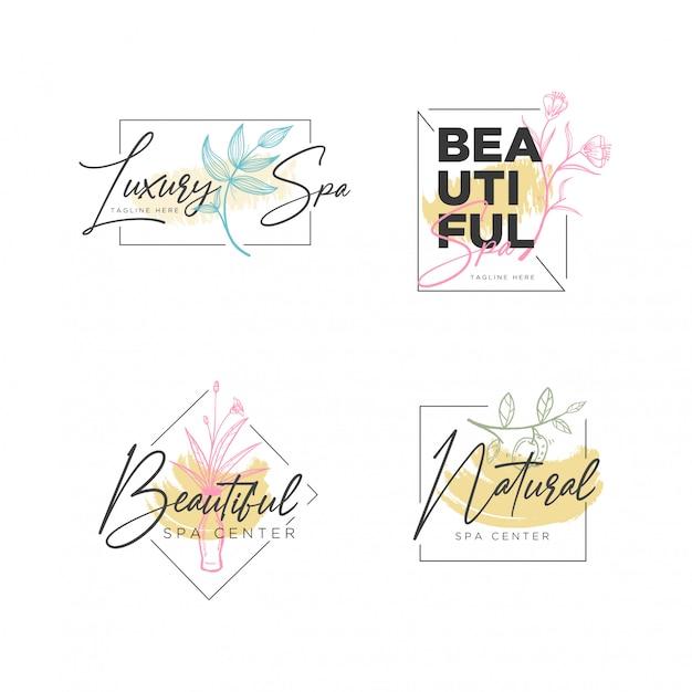 Modèle de logo de cadre botanique floral Vecteur Premium