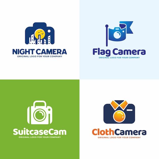 Modèle de logo de caméra unique créatif Vecteur Premium