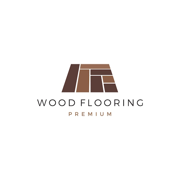 Modèle de logo de carreau de bois en granit vinyle parquet Vecteur Premium