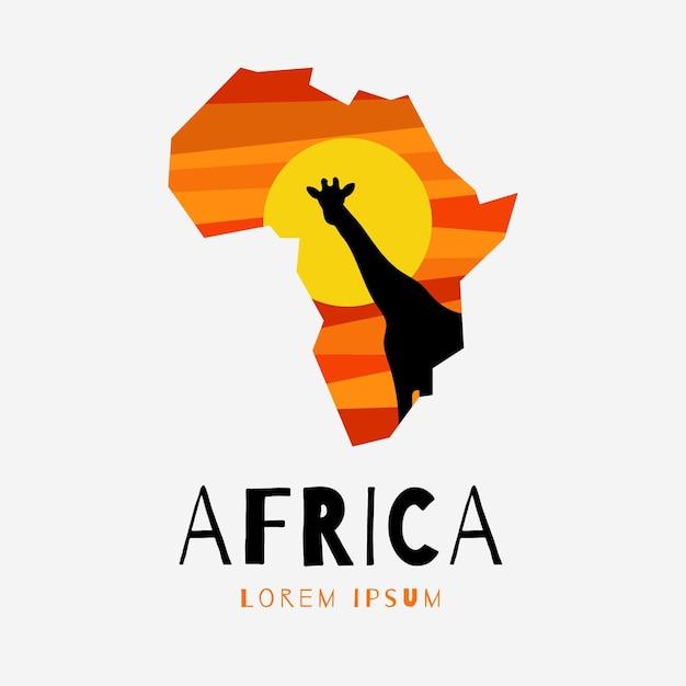 Modèle De Logo De Carte Créative Afrique Vecteur Premium