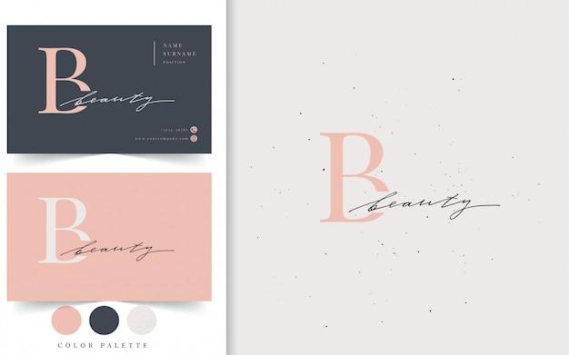 Modèle de logo et carte de visite beauté. Vecteur Premium