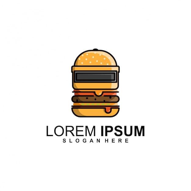 Modèle de logo de casque burger Vecteur Premium