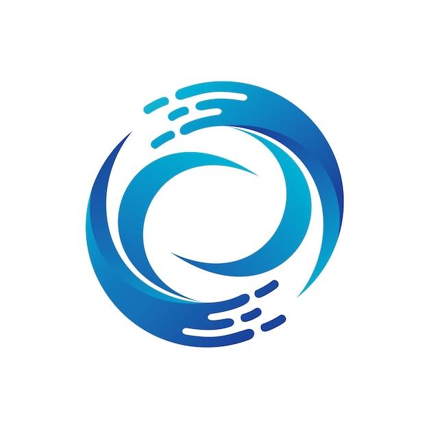 Modèle de logo de cercle d'onde Vecteur Premium
