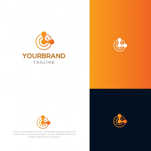 Modèle de logo de chaîne de bloc Vecteur Premium