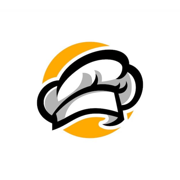 Modèle de logo de chapeau de chef Vecteur Premium