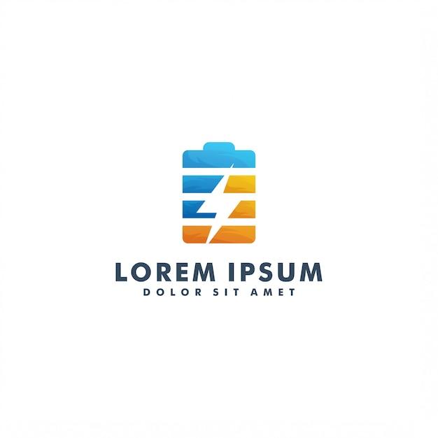 Modèle De Logo De Chargeur De Batterie Vecteur Premium