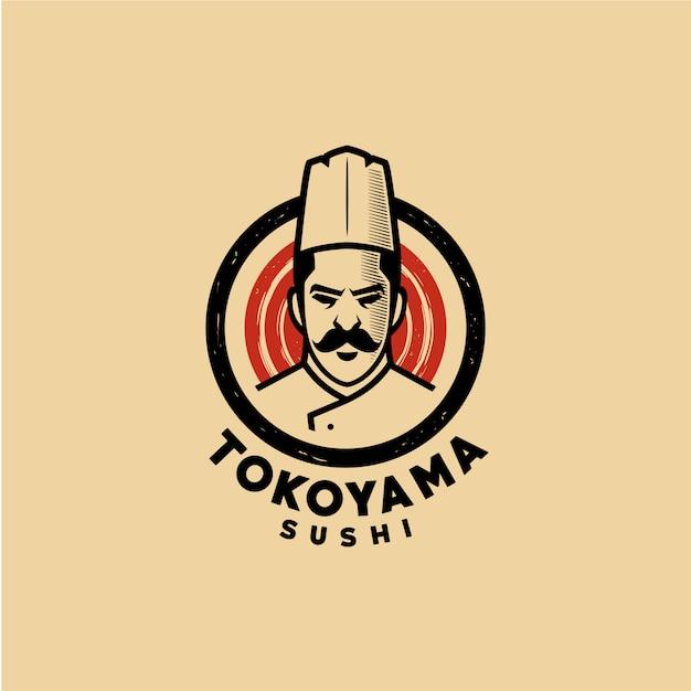Modèle de logo chef sushi Vecteur Premium