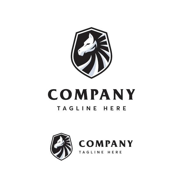 Modèle de logo cheval premium Vecteur Premium
