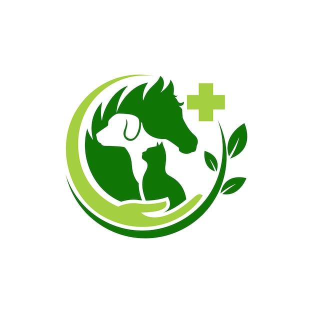 Modèle de logo chien chat et cheval vétérinaire Vecteur Premium
