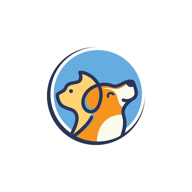 Modèle de logo chien chat vétérinaire Vecteur Premium