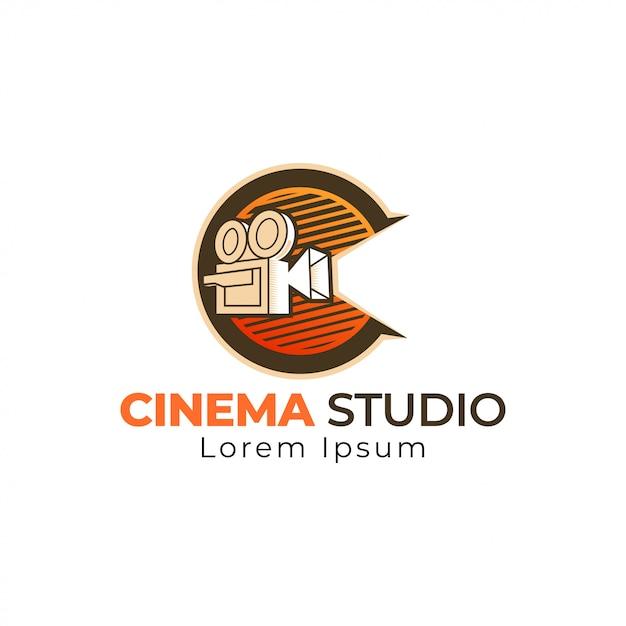 Modèle De Logo De Cinéma Vecteur Premium