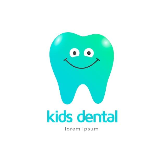 Modèle De Logo De Clinique Dentaire Pour Enfants. Dent De Caractère Icône Souriant. Vecteur Premium