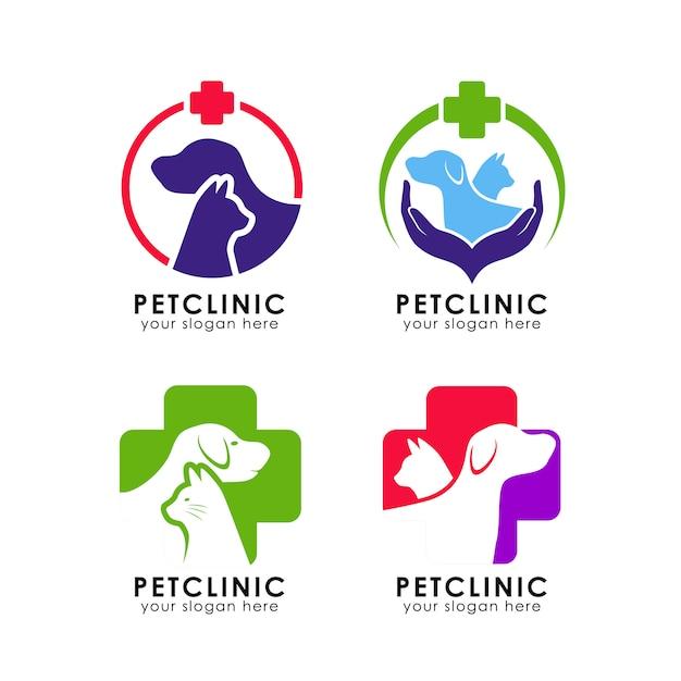 Modèle de logo de clinique pour animaux de compagnie Vecteur Premium