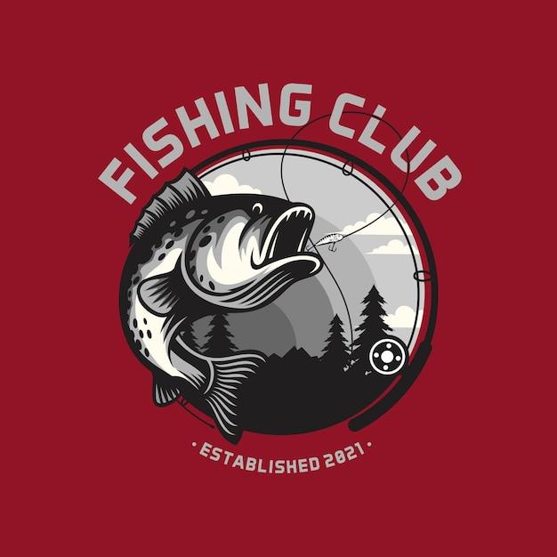 Modèle De Logo De Club De Pêche Isolé Sur Des Couleurs Intelligentes Vecteur Premium