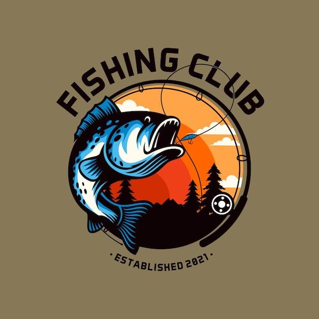 Modèle De Logo De Club De Pêche Isolé Vecteur Premium