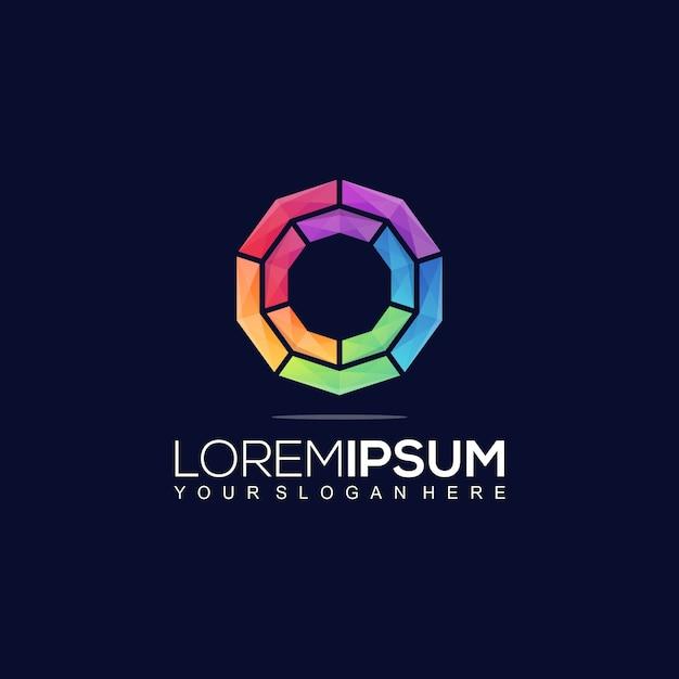 Modèle De Logo Coloré Decagon Vecteur Premium