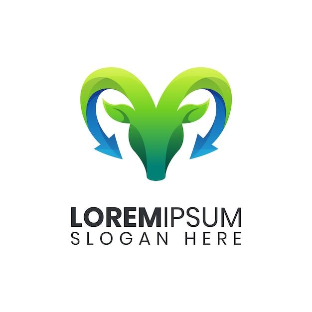 Modèle De Logo Coloré De Flèche De Chèvre Nature Vecteur Premium