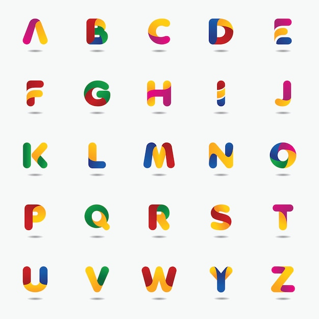 Modèle de logo coloré lettre Vecteur Premium