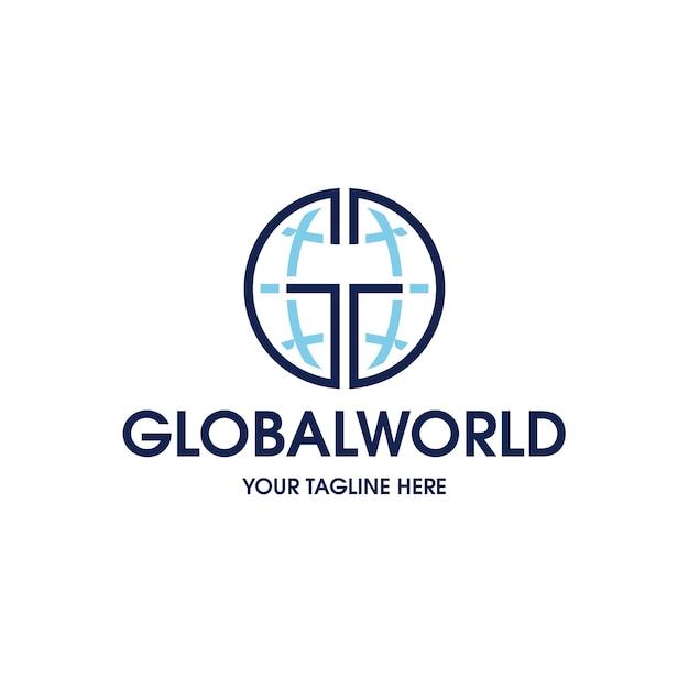 Modèle De Logo De Connexion Globale Vecteur Premium