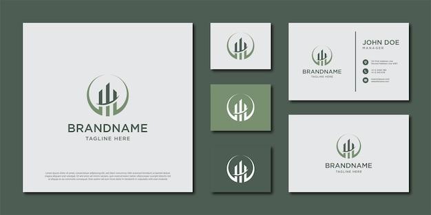 Modèle De Logo De Construction. Création De Logo Et Jeu De Cartes De Visite Vecteur Premium