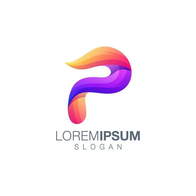 Modèle De Logo Couleur Dégradé Lettre P Vecteur Premium