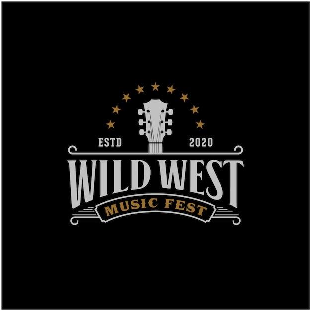 Modèle De Logo Country Music Western Retro Vecteur Premium