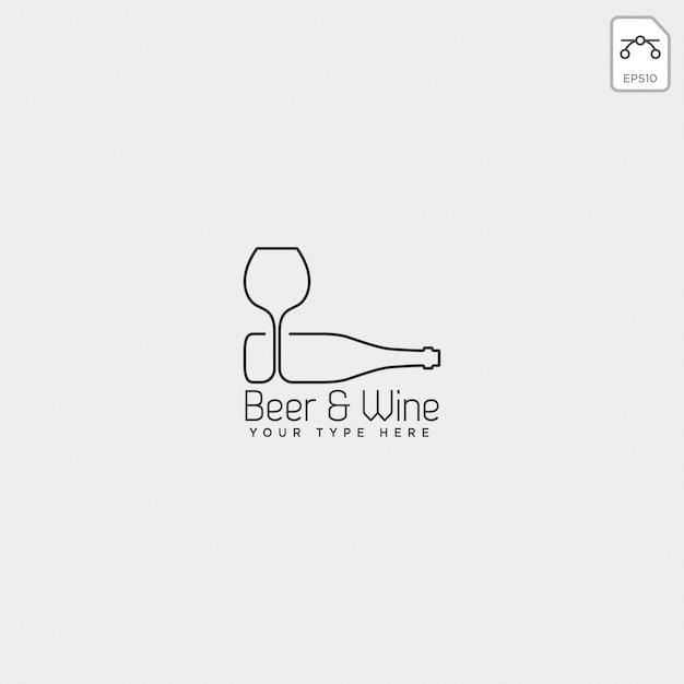 Modèle de logo créatif de verre et bouteille de bière, élément icône Vecteur Premium