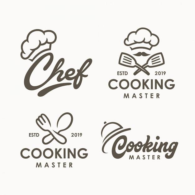 Modèle de logo de cuisine de chef Vecteur Premium