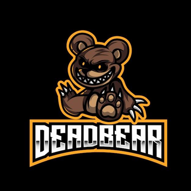 Modèle De Logo Dead Bear Esport Vecteur Premium